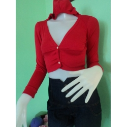 RED BRANDED BLAZER WITH HOOD